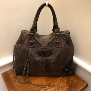 Balenciaga Distressed Brown Leather Satchel